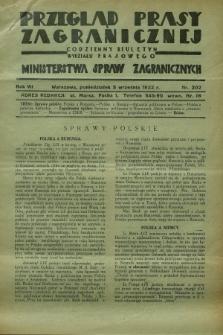 Przegląd Prasy Zagranicznej : codzienny biuletyn Wydziału Prasowego Ministerstwa Spraw Zagranicznych. R.7, nr 202 (5 września 1932)