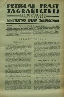Przegląd Prasy Zagranicznej : codzienny biuletyn Wydziału Prasowego Ministerstwa Spraw Zagranicznych. R.7, nr 203 (6 września 1932)