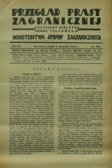 Przegląd Prasy Zagranicznej : codzienny biuletyn Wydziału Prasowego Ministerstwa Spraw Zagranicznych. R.7, nr 206 (9 września 1932)