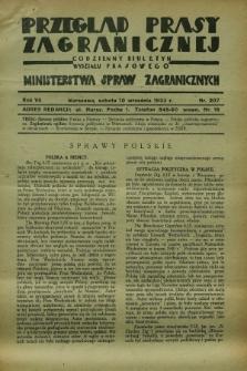 Przegląd Prasy Zagranicznej : codzienny biuletyn Wydziału Prasowego Ministerstwa Spraw Zagranicznych. R.7, nr 207 (10 września 1932)