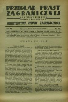 Przegląd Prasy Zagranicznej : codzienny biuletyn Wydziału Prasowego Ministerstwa Spraw Zagranicznych. R.7, nr 210 (14 września 1932)