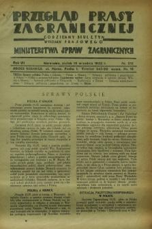 Przegląd Prasy Zagranicznej : codzienny biuletyn Wydziału Prasowego Ministerstwa Spraw Zagranicznych. R.7, nr 212 (16 września 1932)