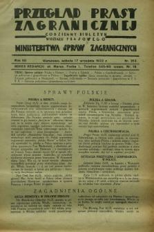 Przegląd Prasy Zagranicznej : codzienny biuletyn Wydziału Prasowego Ministerstwa Spraw Zagranicznych. R.7, nr 213 (17 września 1932)