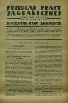 Przegląd Prasy Zagranicznej : codzienny biuletyn Wydziału Prasowego Ministerstwa Spraw Zagranicznych. R.7, nr 214 (19 września 1932)