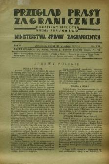 Przegląd Prasy Zagranicznej : codzienny biuletyn Wydziału Prasowego Ministerstwa Spraw Zagranicznych. R.7, nr 218 (23 września 1932)