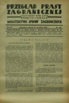 Przegląd Prasy Zagranicznej : codzienny biuletyn Wydziału Prasowego Ministerstwa Spraw Zagranicznych. R.7, nr 221 (27 września 1932)