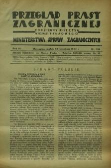 Przegląd Prasy Zagranicznej : codzienny biuletyn Wydziału Prasowego Ministerstwa Spraw Zagranicznych. R.7, nr 224 (30 września 1932)