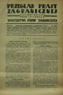 Przegląd Prasy Zagranicznej : codzienny biuletyn Wydziału Prasowego Ministerstwa Spraw Zagranicznych. R.7, nr 226 (3 października 1932)