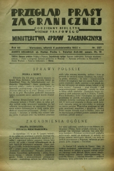 Przegląd Prasy Zagranicznej : codzienny biuletyn Wydziału Prasowego Ministerstwa Spraw Zagranicznych. R.7, nr 227 (4 października 1932)