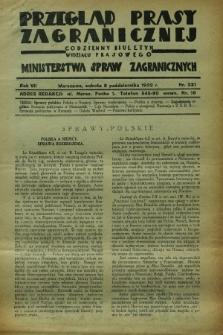 Przegląd Prasy Zagranicznej : codzienny biuletyn Wydziału Prasowego Ministerstwa Spraw Zagranicznych. R.7, nr 231 (8 października 1932)