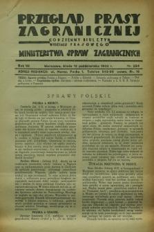 Przegląd Prasy Zagranicznej : codzienny biuletyn Wydziału Prasowego Ministerstwa Spraw Zagranicznych. R.7, nr 234 (12 października 1932)