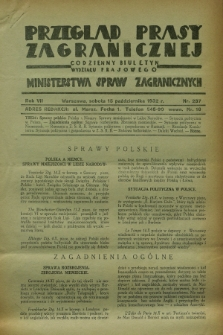 Przegląd Prasy Zagranicznej : codzienny biuletyn Wydziału Prasowego Ministerstwa Spraw Zagranicznych. R.7, nr 237 (15 października 1932)