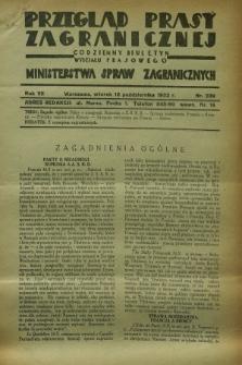 Przegląd Prasy Zagranicznej : codzienny biuletyn Wydziału Prasowego Ministerstwa Spraw Zagranicznych. R.7, nr 239 (18 października 1932) + dod.