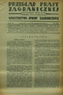 Przegląd Prasy Zagranicznej : codzienny biuletyn Wydziału Prasowego Ministerstwa Spraw Zagranicznych. R.7, nr 240 (19 października 1932)