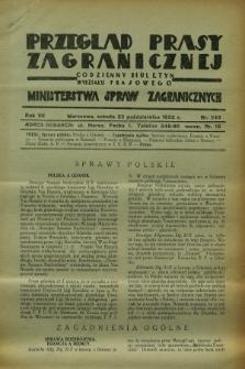 Przegląd Prasy Zagranicznej : codzienny biuletyn Wydziału Prasowego Ministerstwa Spraw Zagranicznych. R.7, nr 243 (22 października 1932)