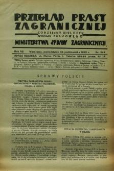 Przegląd Prasy Zagranicznej : codzienny biuletyn Wydziału Prasowego Ministerstwa Spraw Zagranicznych. R.7, nr 244 (24 października 1932)