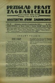 Przegląd Prasy Zagranicznej : codzienny biuletyn Wydziału Prasowego Ministerstwa Spraw Zagranicznych. R.7, nr 247 (27 października 1932)