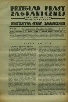 Przegląd Prasy Zagranicznej : codzienny biuletyn Wydziału Prasowego Ministerstwa Spraw Zagranicznych. R.7, nr 249 (29 października 1932)