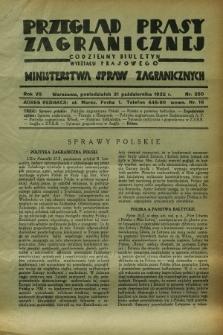 Przegląd Prasy Zagranicznej : codzienny biuletyn Wydziału Prasowego Ministerstwa Spraw Zagranicznych. R.7, nr 250 (31 października 1932)