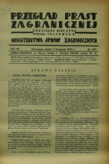 Przegląd Prasy Zagranicznej : codzienny biuletyn Wydziału Prasowego Ministerstwa Spraw Zagranicznych. R.7, nr 253 (4 listopada 1932)