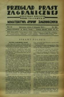 Przegląd Prasy Zagranicznej : codzienny biuletyn Wydziału Prasowego Ministerstwa Spraw Zagranicznych. R.7, nr 254 (5 listopada 1932)
