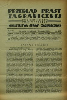 Przegląd Prasy Zagranicznej : codzienny biuletyn Wydziału Prasowego Ministerstwa Spraw Zagranicznych. R.7, nr 255 (7 listopada 1932)