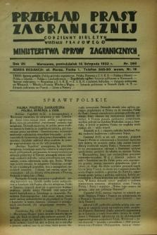 Przegląd Prasy Zagranicznej : codzienny biuletyn Wydziału Prasowego Ministerstwa Spraw Zagranicznych. R.7, nr 260 (14 listopada 1932)