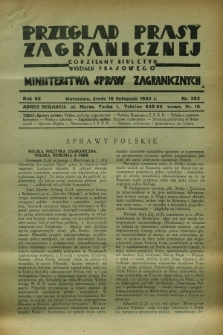 Przegląd Prasy Zagranicznej : codzienny biuletyn Wydziału Prasowego Ministerstwa Spraw Zagranicznych. R.7, nr 262 (16 listopada 1932)