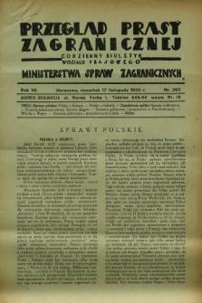 Przegląd Prasy Zagranicznej : codzienny biuletyn Wydziału Prasowego Ministerstwa Spraw Zagranicznych. R.7, nr 263 (17 listopada 1932)