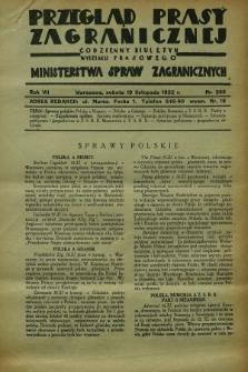 Przegląd Prasy Zagranicznej : codzienny biuletyn Wydziału Prasowego Ministerstwa Spraw Zagranicznych. R.7, nr 265 (19 listopada 1932)