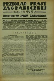 Przegląd Prasy Zagranicznej : codzienny biuletyn Wydziału Prasowego Ministerstwa Spraw Zagranicznych. R.7, nr 266 (21 listopada 1932)