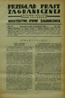 Przegląd Prasy Zagranicznej : codzienny biuletyn Wydziału Prasowego Ministerstwa Spraw Zagranicznych. R.7, nr 268 (23 listopada 1932)
