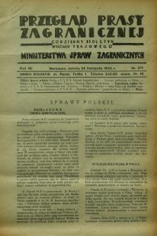 Przegląd Prasy Zagranicznej : codzienny biuletyn Wydziału Prasowego Ministerstwa Spraw Zagranicznych. R.7, nr 271 (26 listopada 1932)