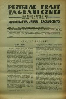 Przegląd Prasy Zagranicznej : codzienny biuletyn Wydziału Prasowego Ministerstwa Spraw Zagranicznych. R.7, nr 272 (28 listopada 1932)