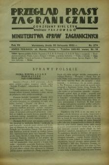 Przegląd Prasy Zagranicznej : codzienny biuletyn Wydziału Prasowego Ministerstwa Spraw Zagranicznych. R.7, nr 274 (30 listopada 1932)