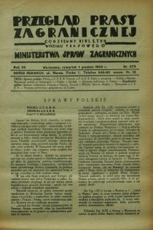Przegląd Prasy Zagranicznej : codzienny biuletyn Wydziału Prasowego Ministerstwa Spraw Zagranicznych. R.7, nr 275 (1 grudnia 1932)