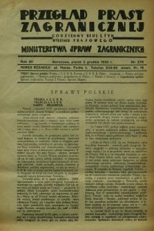 Przegląd Prasy Zagranicznej : codzienny biuletyn Wydziału Prasowego Ministerstwa Spraw Zagranicznych. R.7, nr 276 (2 grudnia 1932)