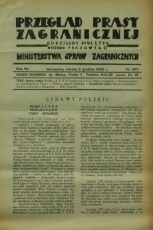 Przegląd Prasy Zagranicznej : codzienny biuletyn Wydziału Prasowego Ministerstwa Spraw Zagranicznych. R.7, nr 277 (3 grudnia 1932)
