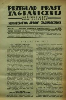 Przegląd Prasy Zagranicznej : codzienny biuletyn Wydziału Prasowego Ministerstwa Spraw Zagranicznych. R.7, nr 278 (5 grudnia 1932)