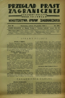 Przegląd Prasy Zagranicznej : codzienny biuletyn Wydziału Prasowego Ministerstwa Spraw Zagranicznych. R.7, nr 282 (10 grudnia 1932)