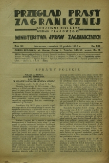 Przegląd Prasy Zagranicznej : codzienny biuletyn Wydziału Prasowego Ministerstwa Spraw Zagranicznych. R.7, nr 286 (15 grudnia 1932)