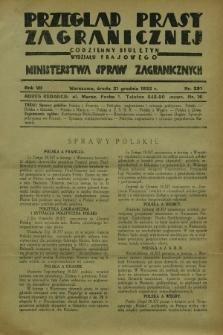Przegląd Prasy Zagranicznej : codzienny biuletyn Wydziału Prasowego Ministerstwa Spraw Zagranicznych. R.7, nr 291 (21 grudnia 1932)