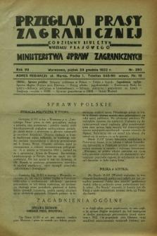Przegląd Prasy Zagranicznej : codzienny biuletyn Wydziału Prasowego Ministerstwa Spraw Zagranicznych. R.7, nr 293 (23 grudnia 1932)