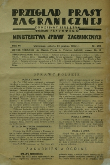 Przegląd Prasy Zagranicznej : codzienny biuletyn Wydziału Prasowego Ministerstwa Spraw Zagranicznych. R.7, nr 298 (31 grudnia 1932)