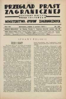 Przegląd Prasy Zagranicznej : codzienny biuletyn Wydziału Prasowego Ministerstwa Spraw Zagranicznych. R.8, nr 125 (2 czerwca 1933)