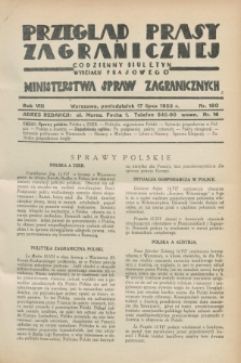 Przegląd Prasy Zagranicznej : codzienny biuletyn Wydziału Prasowego Ministerstwa Spraw Zagranicznych. R.8, nr 160 (17 lipca 1933)