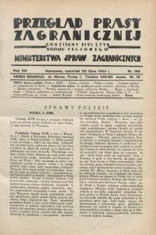 Przegląd Prasy Zagranicznej : codzienny biuletyn Wydziału Prasowego Ministerstwa Spraw Zagranicznych. R.8, nr 163 (20 lipca 1933)