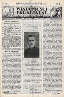 """Wiadomości Parafjalne : dodatek do tygodników """"Niedziela"""" i""""Przewodnika Katolickiego"""". 1935, nr14"""