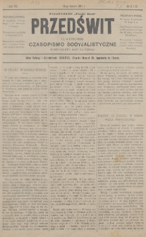 """Przedświt = L'Aurore : czasopismo socyjalistyczne : wydawnictwo """"Walki Klas"""". R. 7, 1888, nr11-12"""