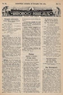 """Wiadomości Parafjalne : dodatek do tygodników """"Niedziela"""" i""""Przewodnika Katolickiego"""". 1935, nr45"""